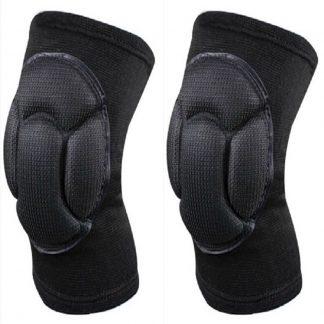 One Pair Durable Sports Sponge Knee Pad High Elastic Short Keen Sleeves Protective Pads Goalkeeper Kneepads - Black