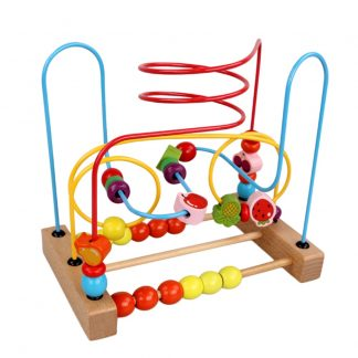 Wooden Fruit Bead Wire Maze Roller Coaster Counting Educational Toy for Baby Kids Children