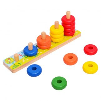 Rainbow Calculate Circle Montessori Counting Stacker Wooden Learning Mathematics Educational Toy for Baby Kids Children