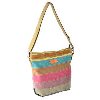 Contrast Color Women Canvas Handbag Tote Purse Striped Lattice Cross Body Shoulder Bag