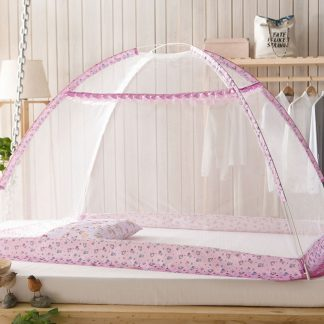 Folding Mosquito Bed Net Baby Children Dense Mesh Free Installation Anti Mosquito Tent Magic Yurt Cartoon Pink